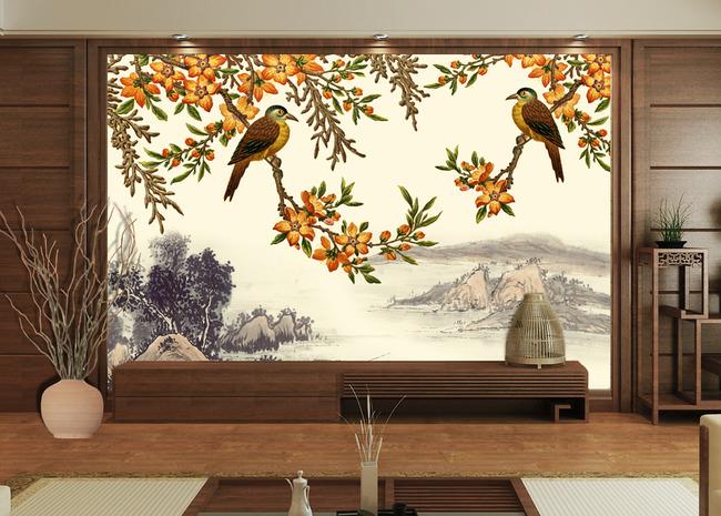 中式背景墙壁画图片