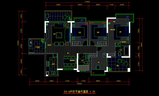 现代欧式风格家装设计完整cad施工图下载