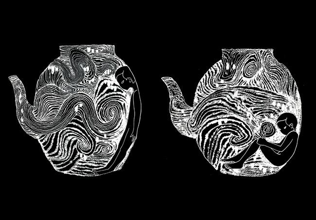 人物茶壶手绘素描欣赏素材下载