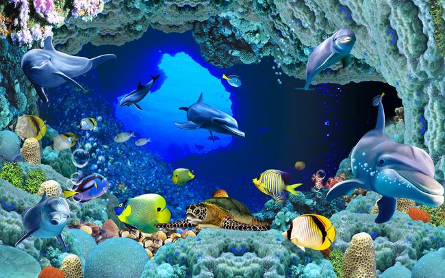 3d海底世界沙发背景墙图片