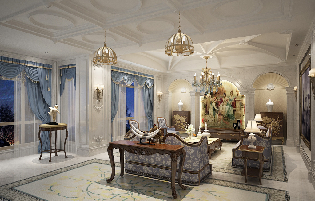 天花造型 客厅结构 欧式背景墙造型 地毯台灯 欧式窗帘 欧式壁画 附源