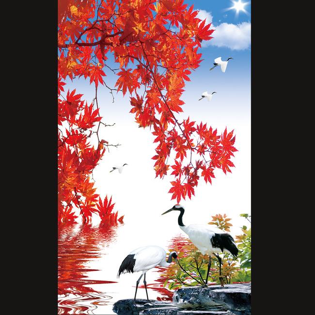 红叶秋天树玄关背景墙模板