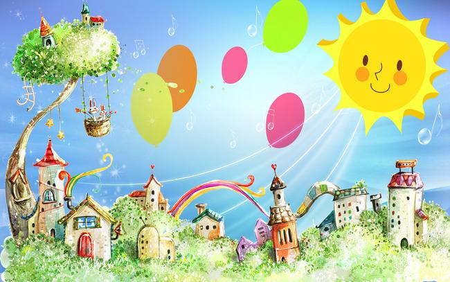简约儿童房唯美风景卡通房子背景墙壁画