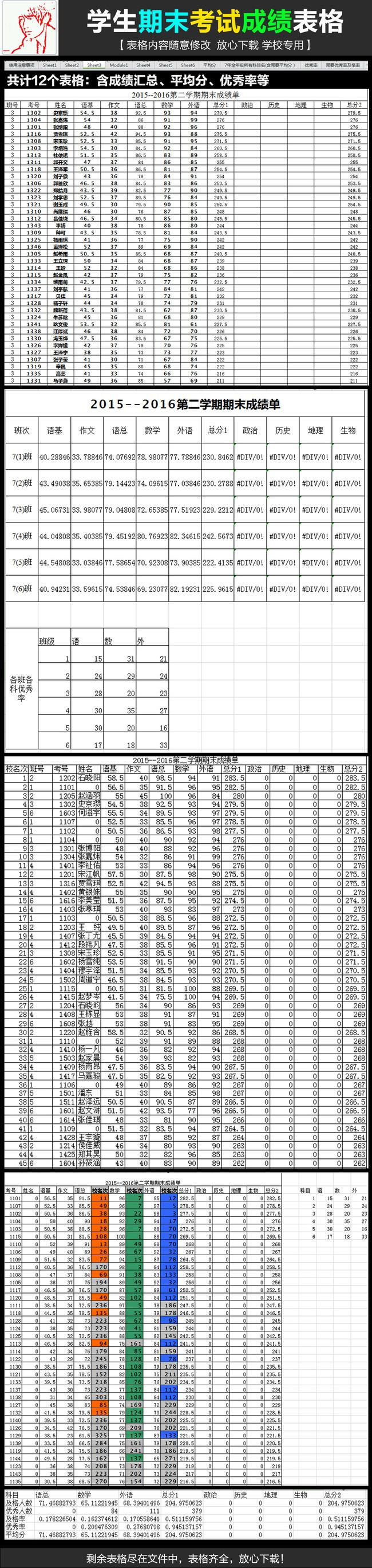 办公|ppt模板 excel模板 学校l政府机关表格模版 > 学校学生期末考试