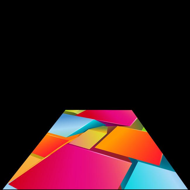 3d立体方形柱体地板模板下载
