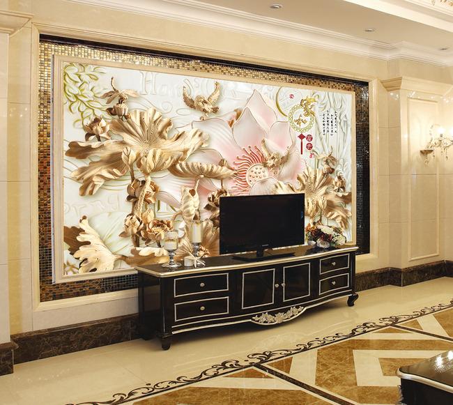 时尚木雕客厅电视背景墙背景画