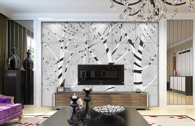 抽象大树手绘灰色树林年轮电视背景墙