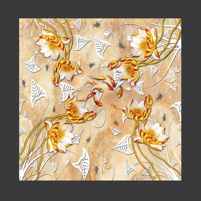 背景墙 装饰画 3d地板 3d植物花卉地板 > 高档荷花莲花浮雕3d浴室立体