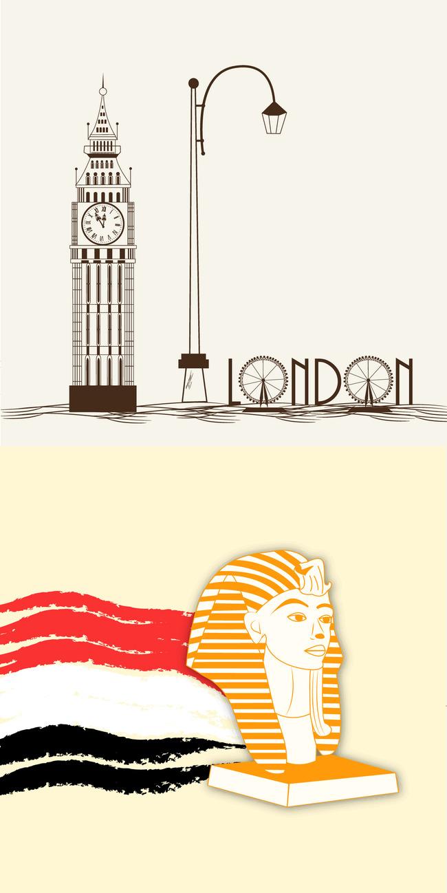 插图插画手绘旅游景点标志建筑 代表建筑 地标建筑 旅游 建筑 伦敦