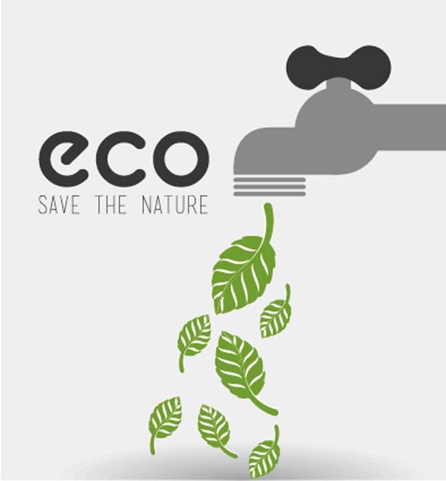 水龙头绿叶生态能源创意设计矢量