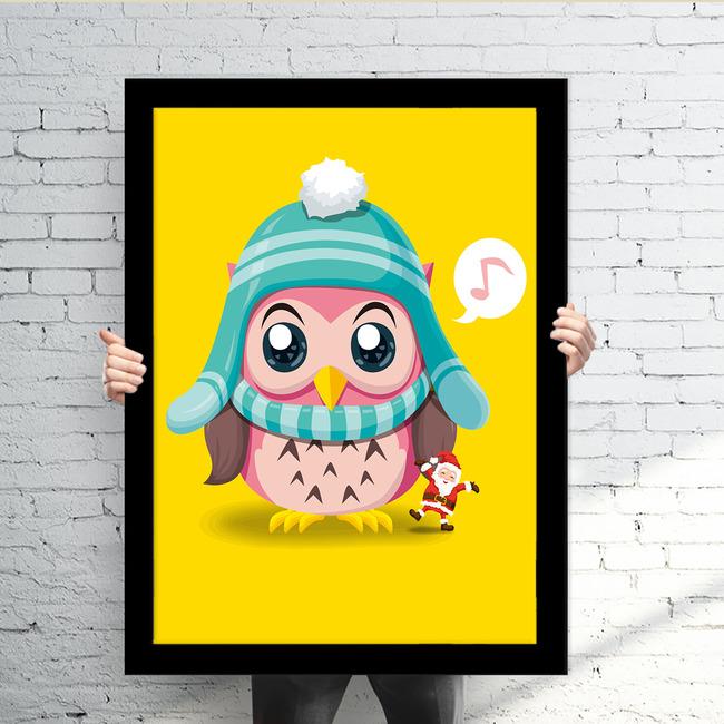 可爱猫头鹰有框画装饰画高清图片下载(图片编号)动物