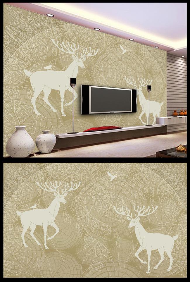 抽象手绘大树树林小鸟驯麋鹿电视背景墙