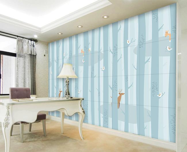 抽象大树手绘树林小鸟驯麋鹿电视背景墙
