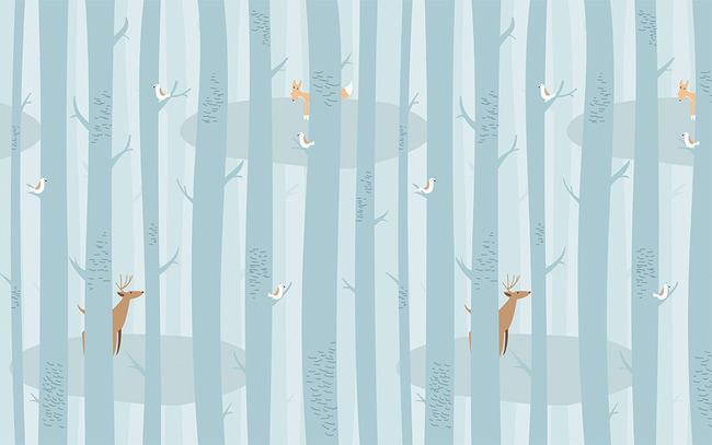 欧洲 欧美 欧式 淡雅 手绘 陶瓷 抽象树 大树 蓝色 抽象 森林 树木