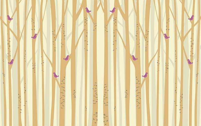 抽象大树手绘树林小鸟电视背景墙