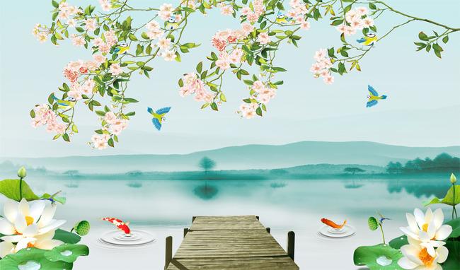 手绘花鸟山水风景电视背景墙中式大型壁画