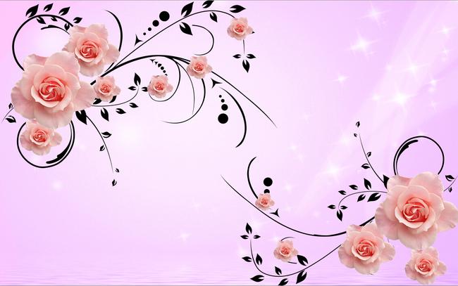 墙|装饰画 电视背景墙 3d电视背景墙 > 彩雕对角花图案移门图案玫瑰花