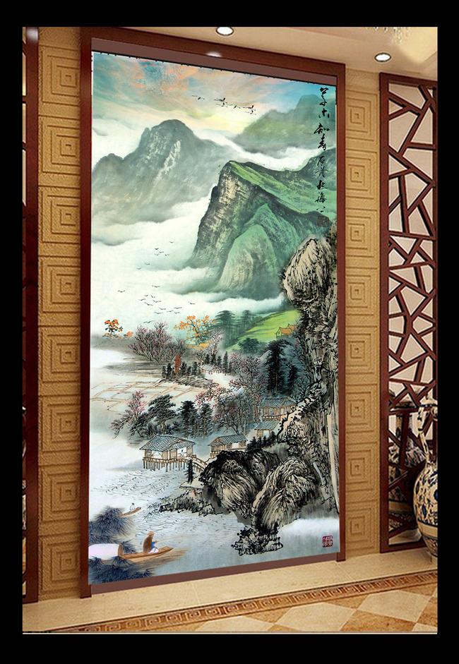 聚宝盆国画山水画玄关背景墙