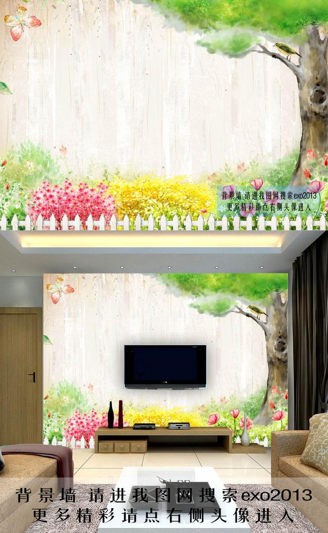 3d田园风景手绘大树电视背景墙