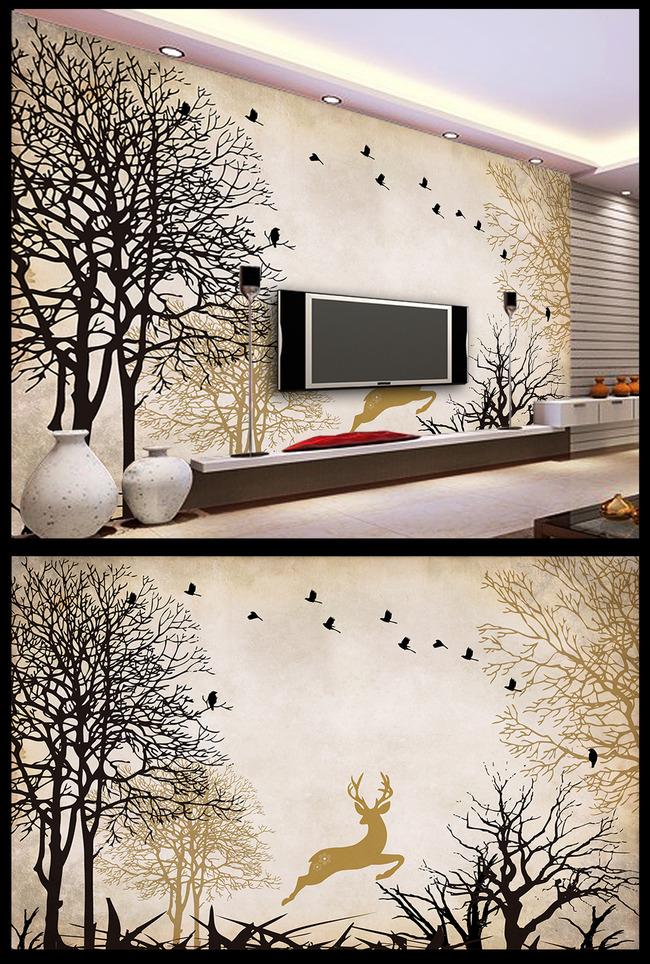 手绘大树树林小鸟驯麋鹿电视背景墙图片下载客厅电视室内背景墙壁画