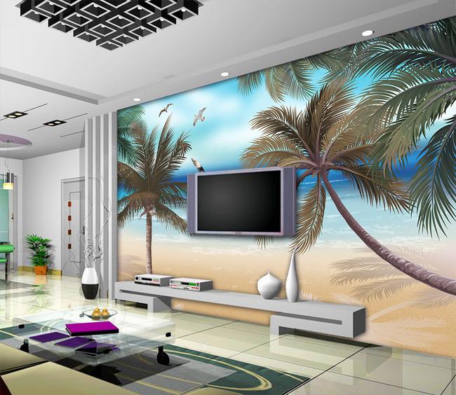 梦幻手绘夏天椰子树沙滩海鸥电视背景墙