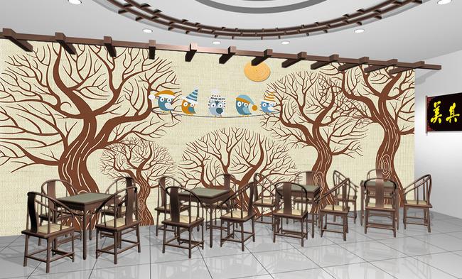 抽象大树手绘树林小鸟唱歌电视背景墙