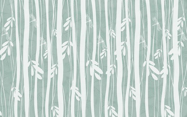 抽象大树手绘树林树叶蜻蜓电视背景墙