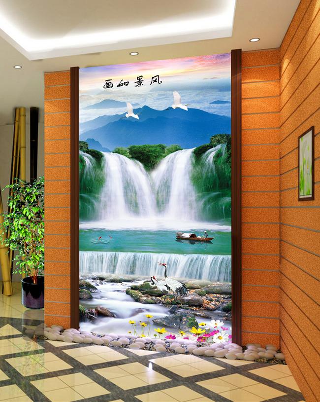 风景如画山水图风景画客厅画瀑布玄关图片下载竖幅 竖式 挂轴装饰画图片