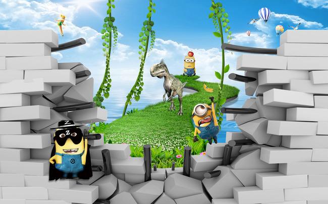 3d立体卡通小黄人形象人物儿童房壁画