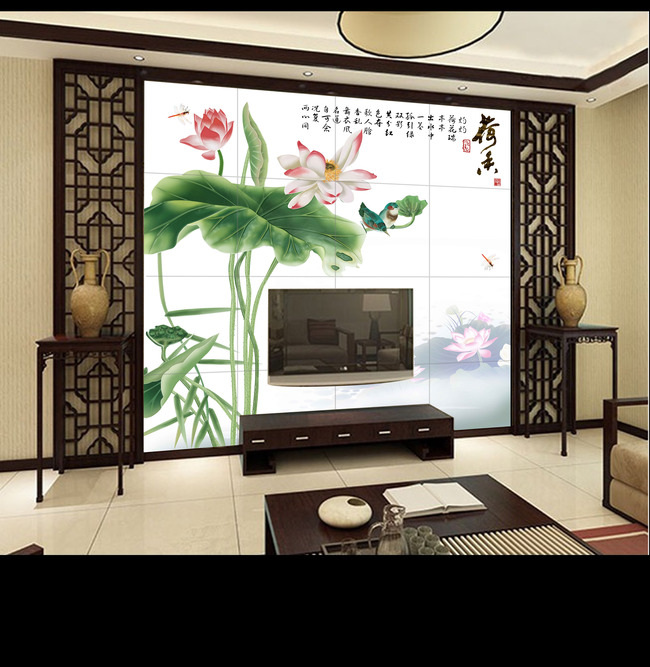 中式高清手绘荷花沙发背景墙壁画图片