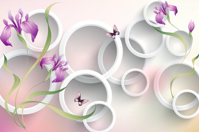 3d手绘紫色兰花电视背景墙