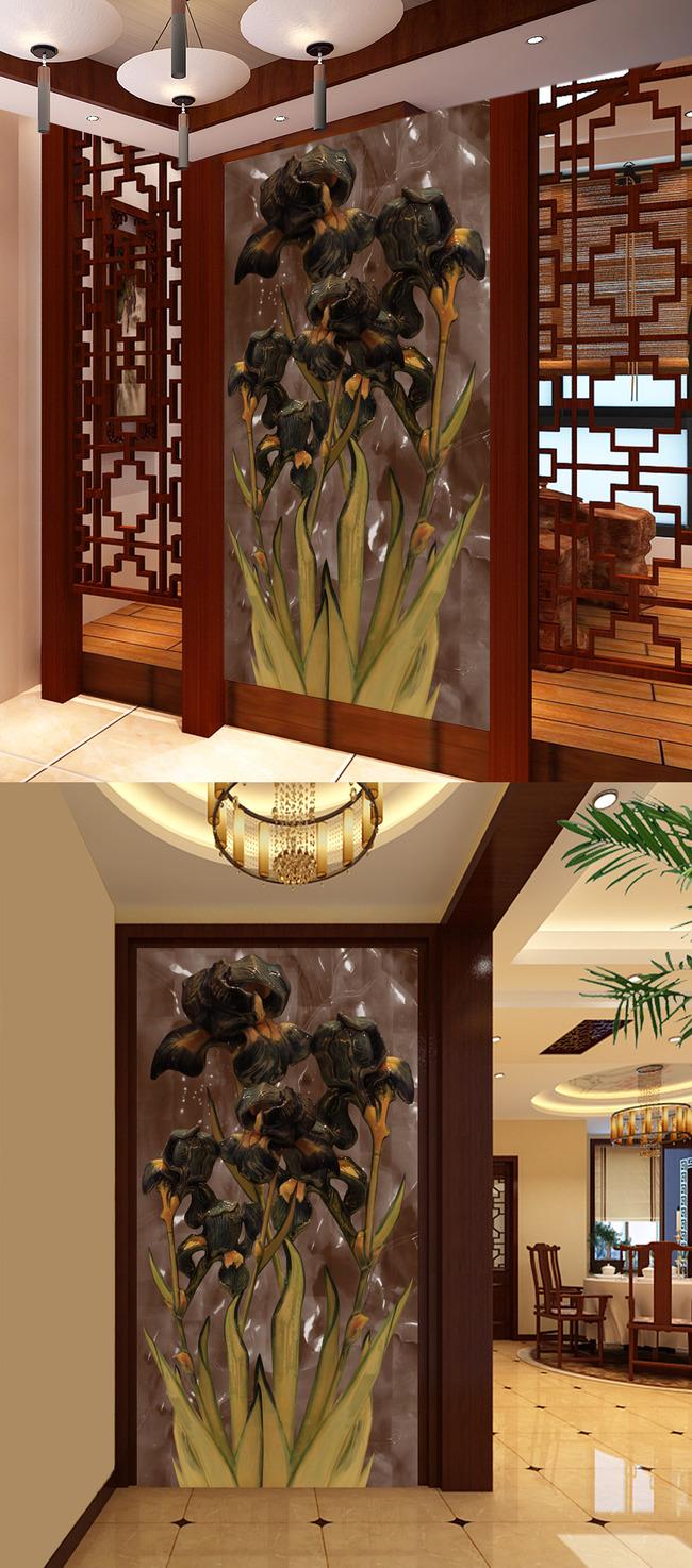 玉雕抽象花卉时尚高档玄关图片下载3d 壁画背景墙立体高清大型 喷绘