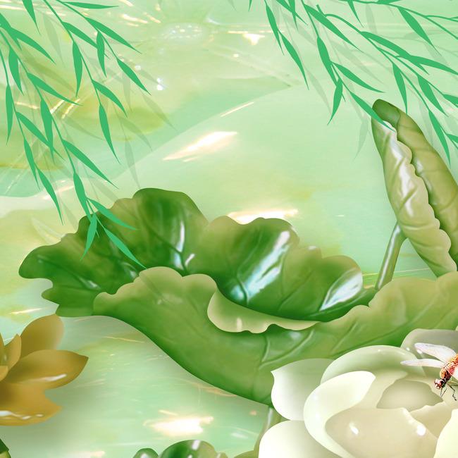 绿色古装美女荷花手绘
