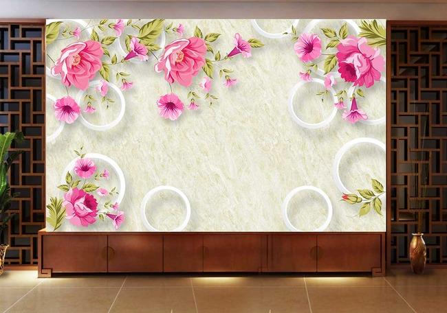 花卉手绘立体3d简约电视背景墙