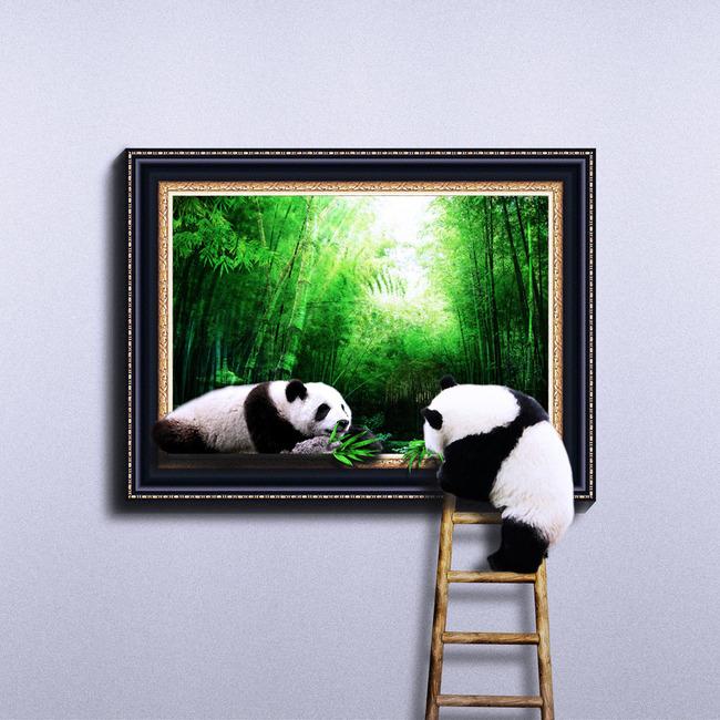 3d地贴立体画彩绘熊猫吃竹子