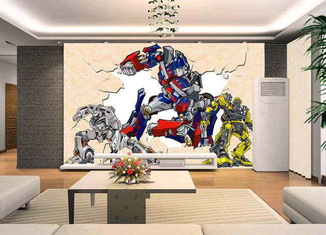 变形金刚破墙卡通动漫电视客厅房间背景墙
