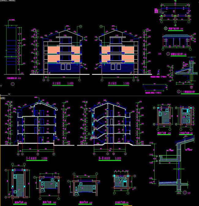 住宅楼cad施工图教学楼立面图建筑