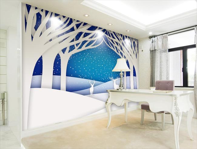 抽象3d立体手绘大树麋鹿剪纸电视背景墙