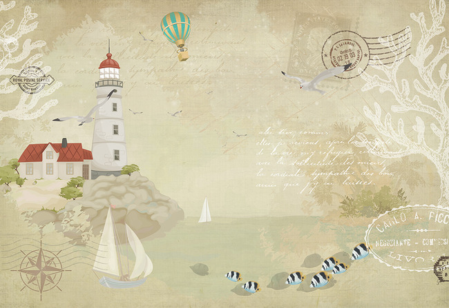怀旧手绘地中海航海灯塔海鸥电视背景墙