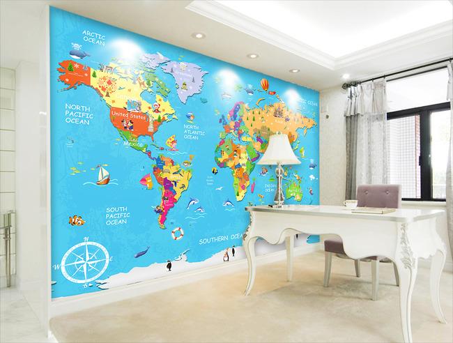 卡通儿童动物环球旅游世界地图电视背景墙