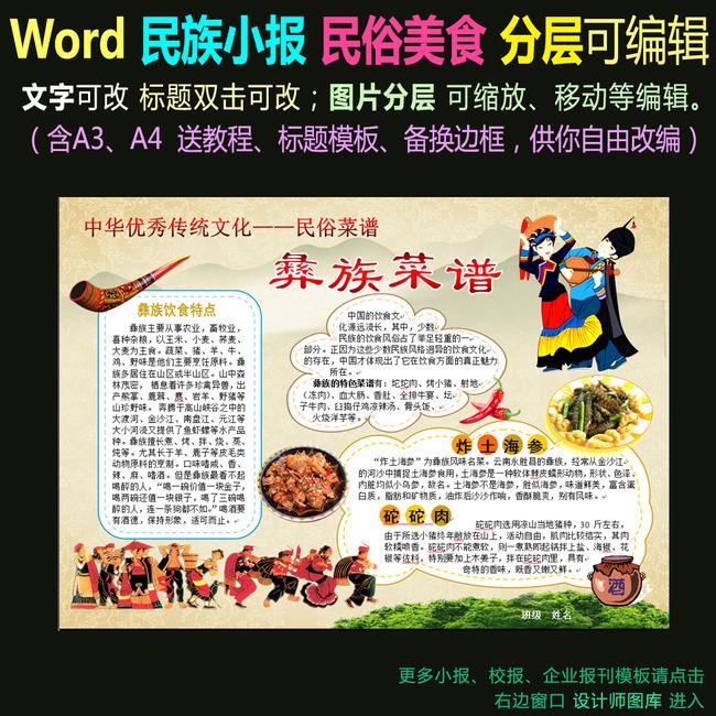 word电子小报模板民族文化民俗菜谱彝族