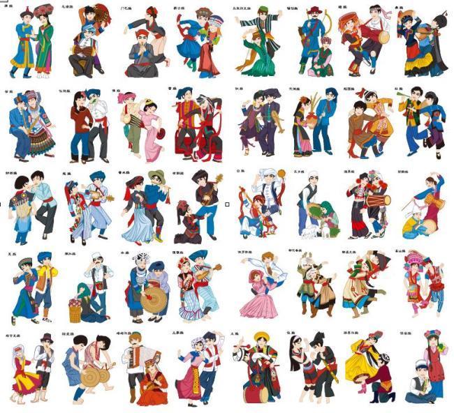 平面设计 花纹图案设计 卡通人物 > 中国56个民族风俗人物  下一张&