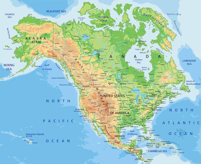 美国圣地亚哥加拿大北大西洋古巴地图矢量模板