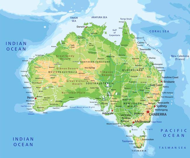 澳大利亚世界地图矢量图片下载澳大利亚悉尼 墨尔本 印度洋 珊瑚海