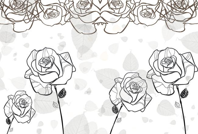 现代简约手绘花纹