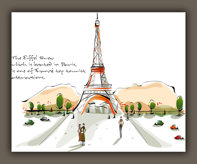 手绘小清新法国巴黎铁塔无框画