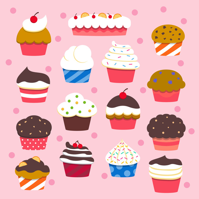 卡通蛋糕美味小蛋糕彩色甜点素材