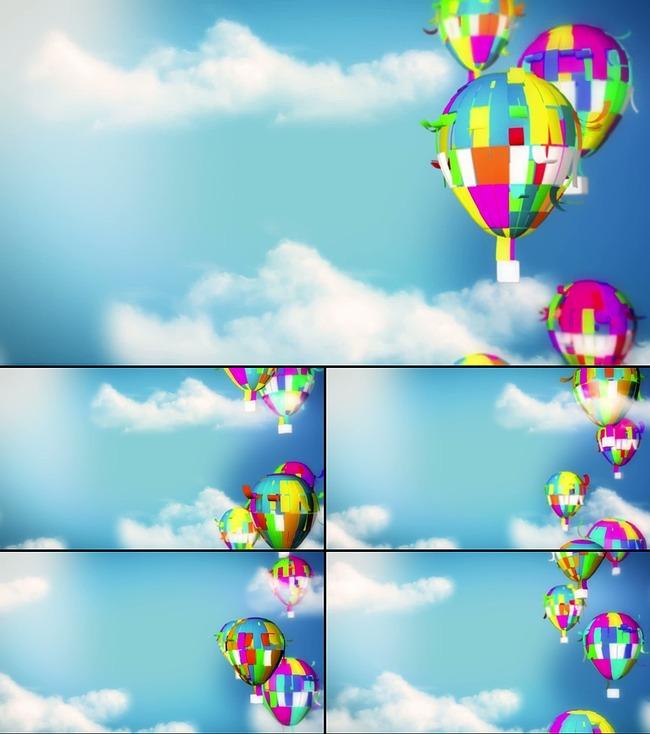 卡通热气球晚会演出led大屏幕动态背景图片