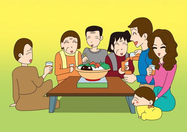 全家团圆吃饭亲子幼儿儿童教育卡通插画图片