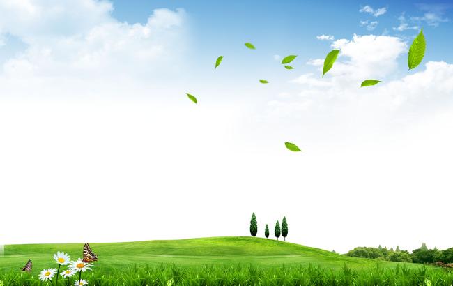 海报绿叶飘落创意春意盎然宣传海报设计